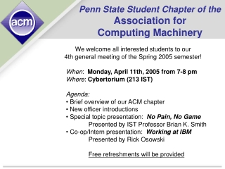 Penn State Student Chapter of the Association for Computing Machinery