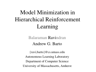 Model Minimization in Hierarchical Reinforcement Learning
