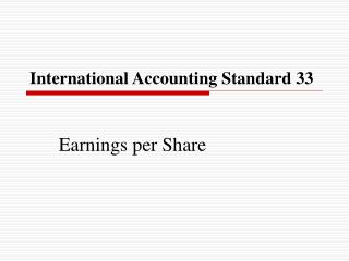 International Accounting Standard 33