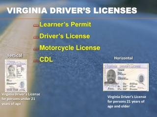 VIRGINIA DRIVER'S LICENSES