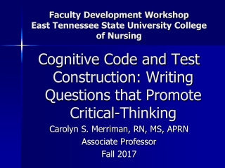 Faculty Development Workshop East Tennessee State University College of Nursing
