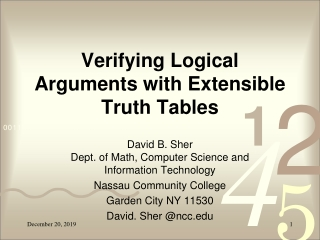 Verifying Logical Arguments with Extensible Truth Tables
