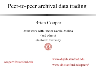 Peer-to-peer archival data trading
