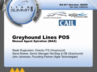 Greyhound Lines POS Manual Agent Xpiration (MAX)