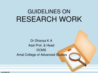 GUIDELINES ON RESEARCH WORK