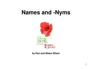 Names and -Nyms