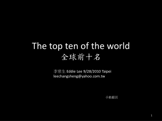 The top ten of the world 全球前十名