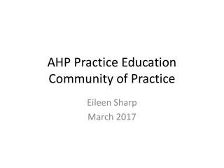 AHP Practice Education Community of Practice