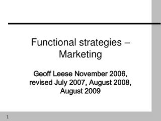 Functional strategies – Marketing