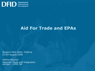 Aid For Trade and EPAs