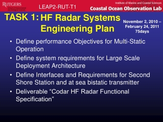 HF Radar Systems Engineering Plan