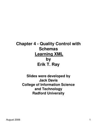 Chapter 4 - Quality Control with Schemas Learning XML by Erik T. Ray