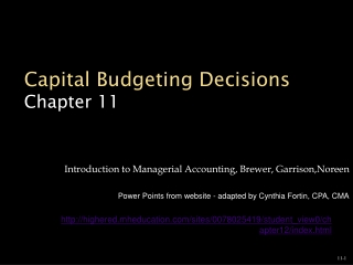 Capital Budgeting Decisions Chapter 11