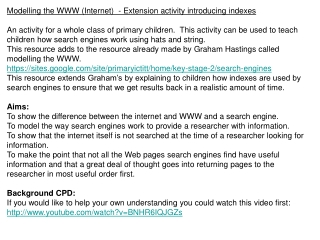 Modelling the WWW (Internet)  - Extension activity introducing indexes
