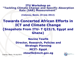 Nevine Tewfik Director, Research, Policies and Strategic Planning MCIT- Egypt  ntewfik@mcit.eg