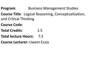 Program :      Business Management Studies