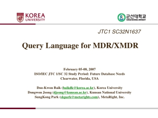 Query Language for MDR/XMDR