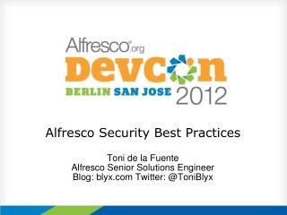 Alfresco Security Best Practices
