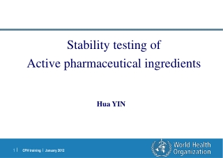 Stability testing of  Active pharmaceutical ingredients
