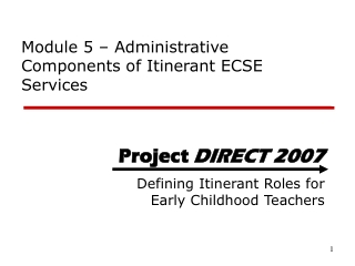 Module 5 – Administrative Components of Itinerant ECSE Services