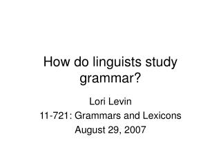 How do linguists study grammar?