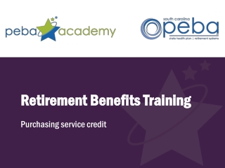 Retirement Benefits Training