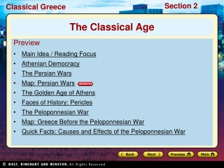 Preview Main Idea / Reading Focus  Athenian Democracy The Persian Wars Map: Persian Wars