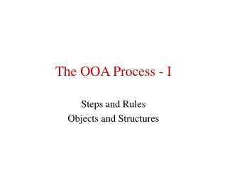The OOA Process - I