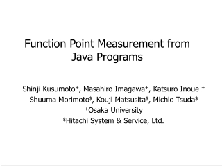 Function Point Measurement from  Java Programs
