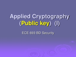 Applied Cryptography ( Public key )  (I)