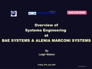 Overview of Systems Engineering  at BAE SYSTEMS & ALENIA MARCONI SYSTEMS