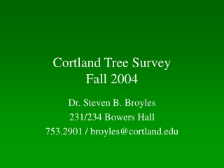 Cortland Tree Survey Fall 2004