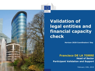 V alidation of legal entities and financial capacity check