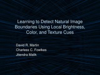 Learning to Detect Natural Image Boundaries Using Local Brightness, Color, and Texture Cues
