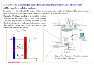 3.  Macroscopic transport processes :  Heat and mass transfer  in  presence of convection