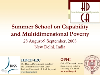 Summer School on Capability and Multidimensional Poverty