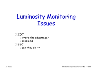 Luminosity Monitoring Issues