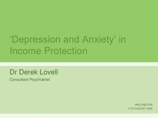 'Depression and Anxiety' in Income Protection