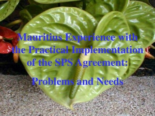 Mauritius Experience with the Practical Implementation of the SPS Agreement:   Problems and Needs