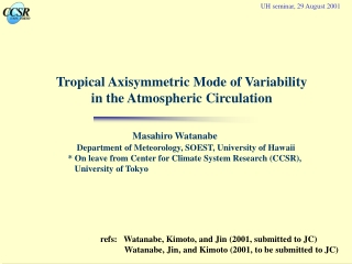 Tropical Axisymmetric Mode of Variability  in the Atmospheric Circulation
