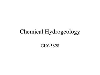 Chemical Hydrogeology