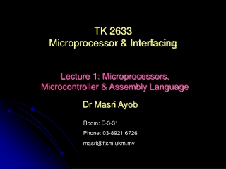 TK 2633 Microprocessor & Interfacing