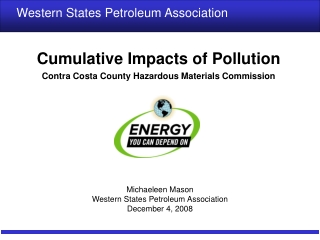 Cumulative Impacts of Pollution Contra Costa County Hazardous Materials Commission