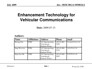 Enhancement Technology for  Vehicular Communications