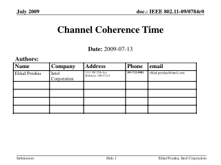 Channel Coherence Time