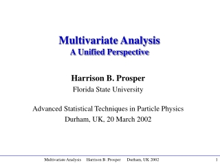 Multivariate Analysis A Unified Perspective