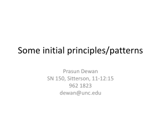 Some initial principles/patterns