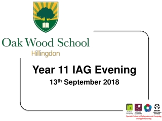 Year 11 IAG Evening 13 th  September 2018