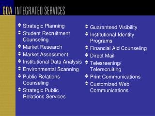 Strategic Planning  Student Recruitment Counseling Market Research Market Assessment