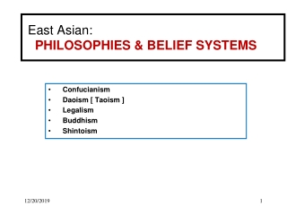 East Asian: PHILOSOPHIES & BELIEF SYSTEMS